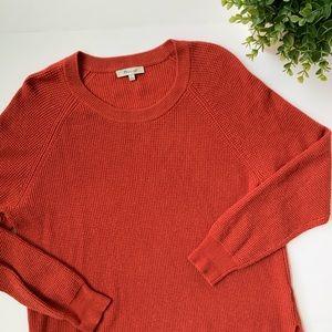 Madewell | Burnt Orange Waffle Knit Sweater sz L